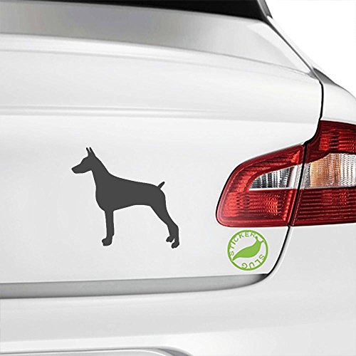 Pinscher Decal - Doberman Pinscher Dog Decal Sticker (charcoal grey, 5 inch)