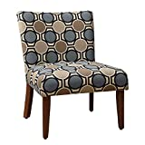 Cheap HomePop Large Parsons Upholstered Accent Chair, Blue and Brown Abstract
