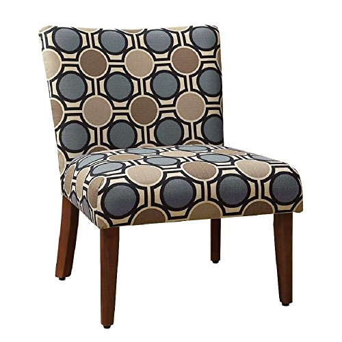 HomePop Large Parsons Upholstered Accent Chair, Blue and Brown ()
