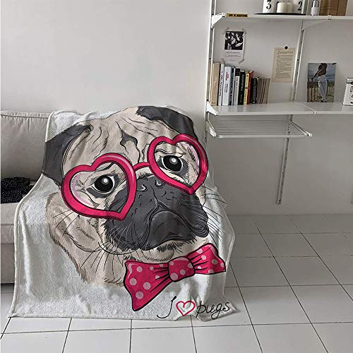 - Maisi Warm Microfiber All Season Blanket, Fashionable Dog with Heart Shaped Glasses and Dotted Bow Tie I Love Pugs Drawing, Velvet Plush Throw Blanket 60x50 Inch Pink Grey White