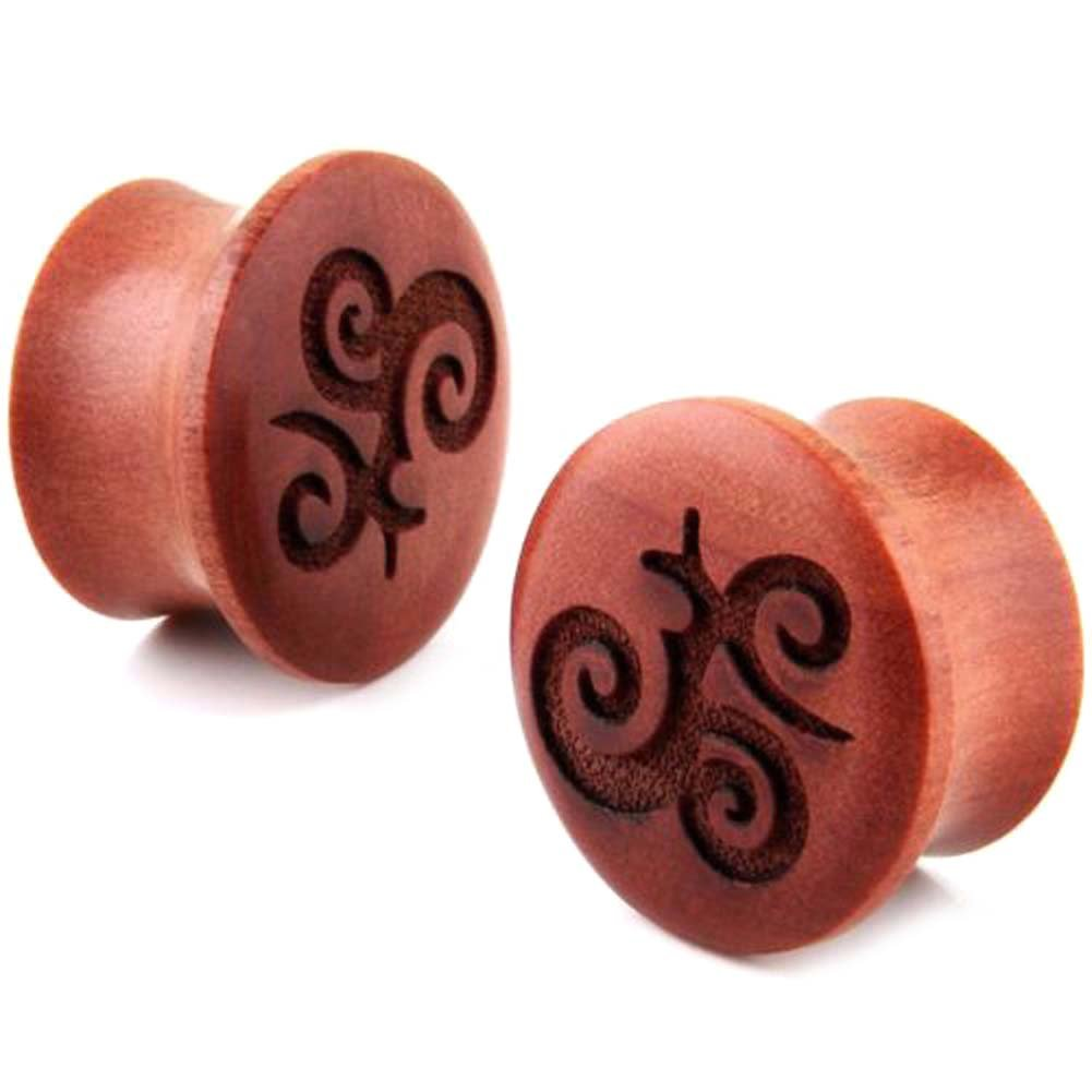 Pair Double Flare Carved Organic Tribal Design Sawo Wood Ear Plugs Gauges