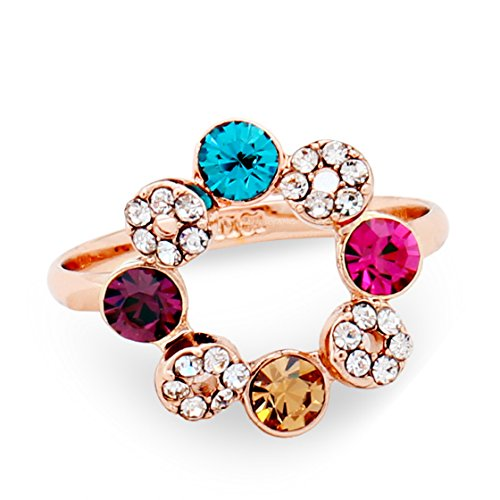 PSRINGS Ferris Wheel Crystal Ring Rose Gold Plated Austrian Crystals - Fire Wheel Mall