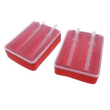 Compra Fenteer 2 Set Molde de Paletas de Bricolaje Cubeta para Hielo Fabricante de Paletas Complimentos Duradero - Rojo en Amazon.es