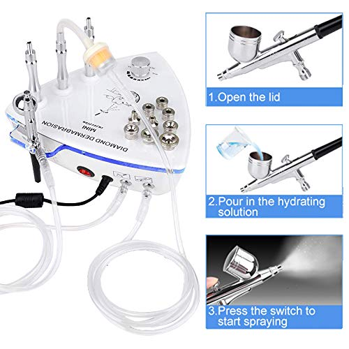 3 in 1 Diamond Microdermabrasion Dermabrasion Machine with Spray Gun, Professional Home Use Facial Beauty Salon Equipment Suction Power 65-68cmhg (NEW VIRSION) by crafts man (Image #1)