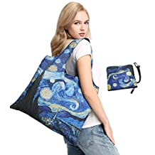 BeeGreen Reusable Shopping Grocery Bag with Top Zipper Closure, Water Resistant and Wrinkle Free Lightweight Polyester Foldable Beach Travel Tote, Individual Zippered Storage Pouch
