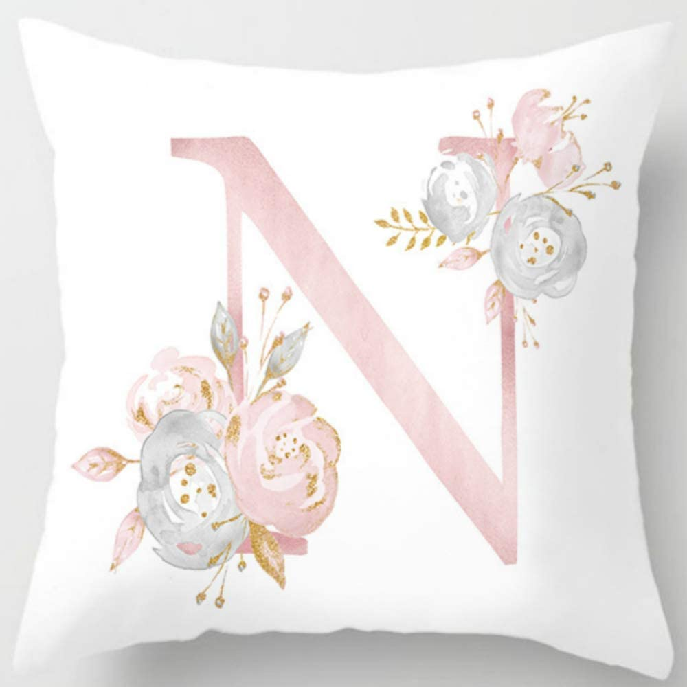 Eanpet Throw Pillow Covers Alphabet Decorative Pillow Cases ABC Letter Flowers Cushion Covers 18 x 18 Inch Square Pillow Protectors for Sofa Couch Bedroom Car Chair Home Decor (N)