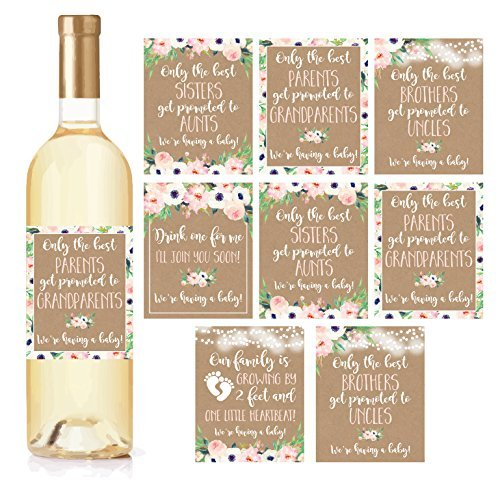 8 Pregnancy Announcement Gifts, Announcing New Baby Reveal, Funny Wine...
