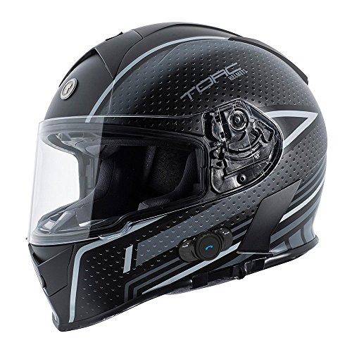 Torc T14B Blinc Loaded Scramble Mako Full Face Helmet (Flat Black/Grey with Graphic, Medium)