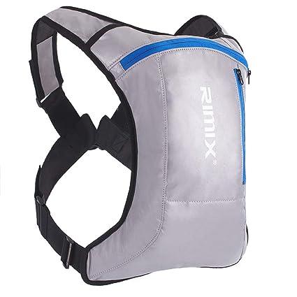 Mochila bandolera para exteriores con luz de carga, mochila reflectante de seguridad, transpirable,