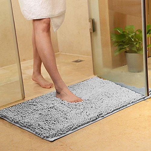 INTBUYING Non-slip Microfiber Shag Bathroom Rugs Bath Mats - Light Gray Bathroom Rugs
