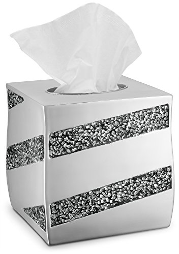 Dwellza Tissue Box Cover Square – Decorative Bathroom Tissue Holder, Silver Mosaic Collection, Bottom Slider, Kleenex Box Covers, Silver Bathroom Accessories (6