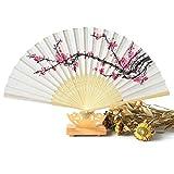 DierCosy 1 pcs Womens Hand Fans Handheld Folding Fans Cherry Blossom Bamboo Fans