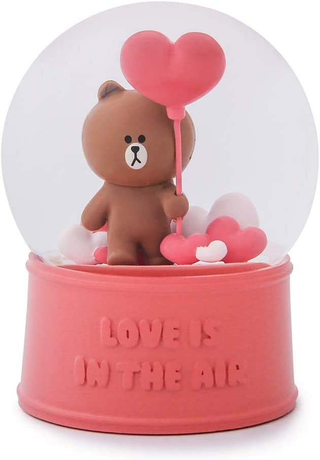 LINE FRIENDS Snow Water Globe – Brown Character Cute Home D cor, Dark Pink