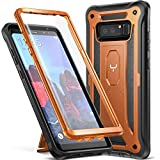 YOUMAKER Kickstand Case for Galaxy Note 8, Full Body with Built-in Screen Protector Heavy Duty Protection Shockproof Rugged Cover for Samsung Galaxy Note 8 (2017) 6.3 Inch - Orange/Black