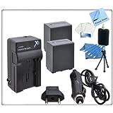 2 Pack High Capacity (5900 mAh) Sony FV100 Replacement Battery & Charger Kit For Sony CX110, CX130, CX150, CX160, CX210, CX260V, CX170, CX190, CX200, CX300, CX370, CX370V, CX350, CX350V, CX550, CX550V, CX560, CX560V, CX580, CX580V, CX700, CX700V, CX760, CX760V, HC9, PJ10, PJ26V, PJ30V, PJ50V, PJ200, PJ760V, PJ710V, PJ580V, TD10V, TD20V, XR150, XR160, XR260V, XR350, XR350V, XR550, XR550V, NX30, NX70, MC50, MC50U, VG10, VG20, VG20H, VG900, DEV-3, DEV-5 Camcorders + Starters Kit & CS Microfiber Cleaning Cloth