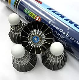 Set of 12 Black Feather Badminton Shuttlecocks Goose Feather Shuttlecocks