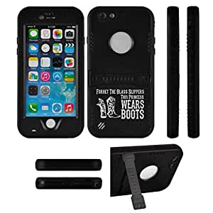 Apple iPhone 6 6s Premium Waterproof Shockproof Dirt Snow Proof Case Cover Princess Wears Boots Cowgirl (Black)
