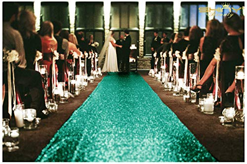 ShinyBeauty Green Wedding Aisle Runner 48Inchx20FT Christmas Green Carpet Wedding Indoor Outdoor Carpet Sequin Aisle Runner (Hunter Green) ~0815S