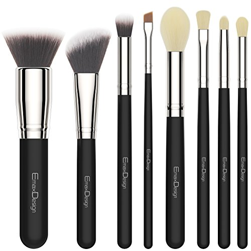 EmaxDesign 8 Pieces Makeup Brush Set Face Eye Shadow Eyeliner Foundation Blush Lip Makeup Brushes Powder Liquid Cream Cosmetics Blending Brush Tools (Silver Black) (Angled Blush Brush Mac)