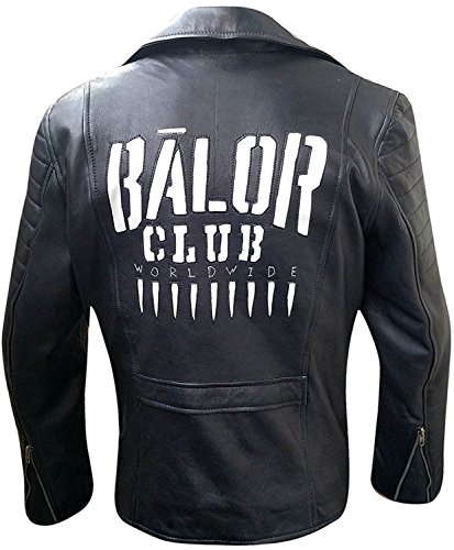 Finn Balor Club Asymmtercial Zipped WWE Superstar Quilted Mens Black Leather Jacket by NM Fashions
