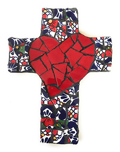Mexican Tile Talavera Wall Crossh  Mosaic Red Heart with Multi