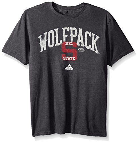 Adidas Ncaa North Carolina State Wolfpack Adult Men Pastime Arch Vault Tri Blend S Tee  Large  Black Heathered
