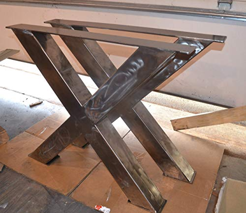 Trestle Farm Table - Metal Table Legs, X-Frame Style - Any Size and Color