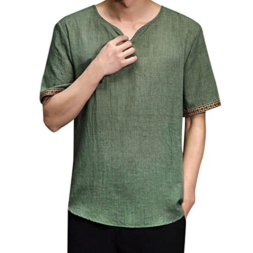 Herringbone Petite Belt - iLXHD Mens Traditional Linen Shirts Casual Short Sleeve V Neck Tops Loose Blouse(Green,5XL)