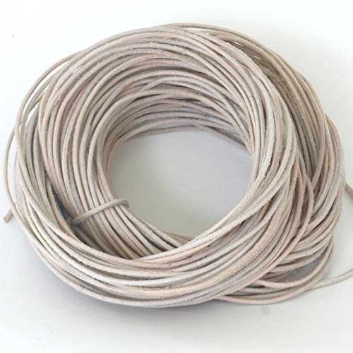 2 MM Natural/Untreated Leather Cord, 50 Meter Hank (54.67 (Untreated Natural)