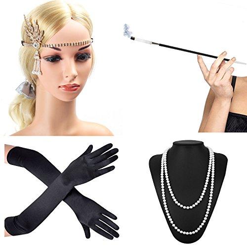 Beelittle 1920s Accessories Headband Earrings Necklace Gloves Cigarette Holder (C1) for $<!--$14.99-->