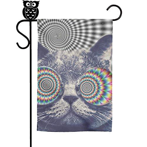 sretinez Sleeping cat and Stars Home Garden Flag Yard Flag Summer Yard Outdoor Decorative 12x18 -
