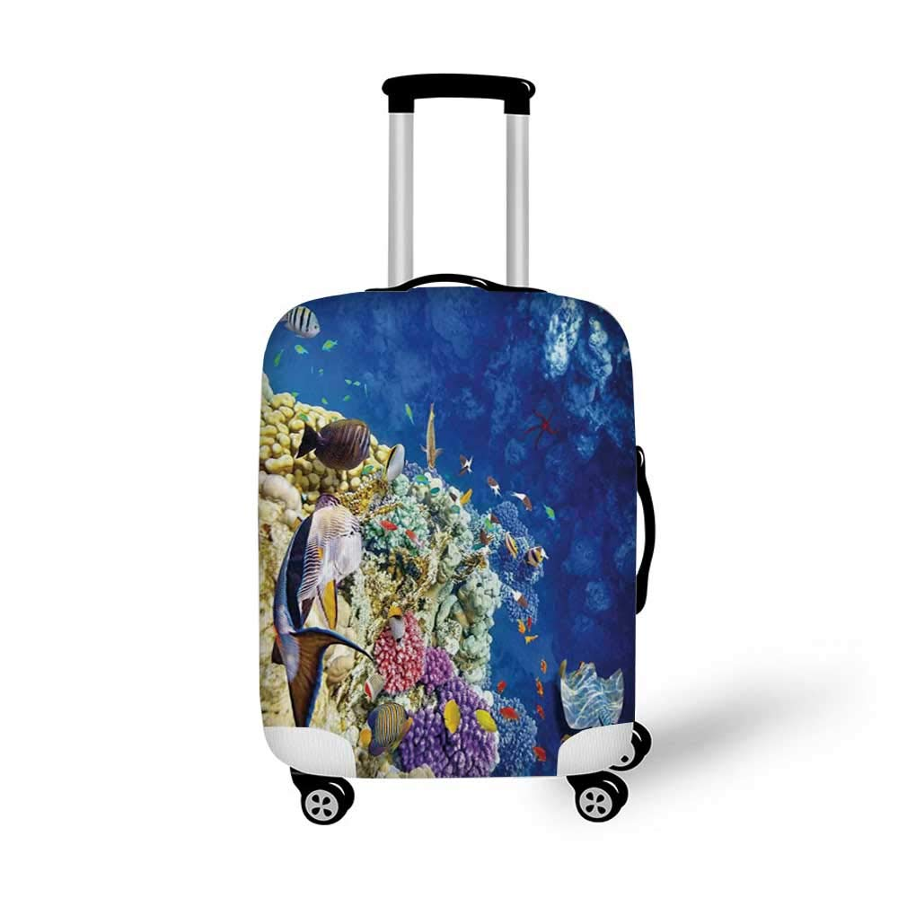 26.3W x 30.7H Ocean Animal Decor Stylish Luggage Cover,Decorative Eastern Exotic Koi Fish Common Carp Calming Water Garden Graphic for Luggage,L