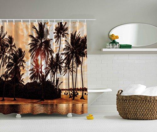 Tropical Beach Shower Curtain Decor Sea Love Beach Love Bora Bora Island Palm Trees Art Print for Nature Lovers Scenery View Decor Home Bathroom Set Decorative Sunset Shower Curtain Brown Orange