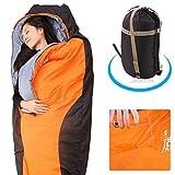 sleeping bag - Balichun Sleeping Bag - Mummy Lightweight Portable Waterproof With Compression Sack - Orange