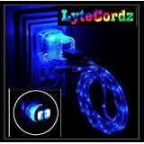 LYTECORDZ Light Up Glowing LED Phone Charging Charger Cable USB Cord Compatible With iPhone 5 6 7 8 X Android Micro Type C with LED Car and Wall Plug (Blue Solid- 6 Feet, iPhone 5/6/7/8/X)