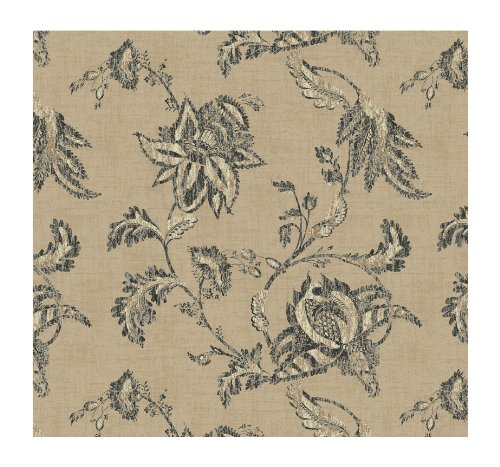 York Wallcoverings French Dressing KC1833 Jacobean Floral Scroll Wallpaper, Pearled Sand/Charcoal/White