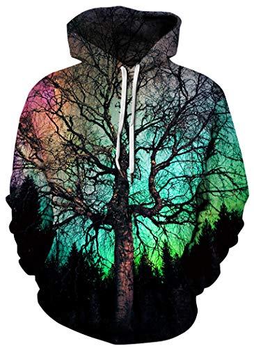 BarbedRose Men's Digital Print Sweatshirts Hooded Top Galaxy Pattern Hoodies,Night Tree,S/M - Pattern Digital