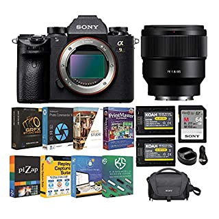 Sony Alpha a9 Full Frame Mirrorless Camera with FE 85mm f/1.8 Prime Lens, Software Suite and Accessory Bundle (6 Items)