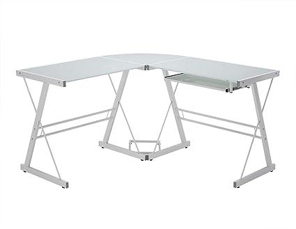 Surprising Walker Edison Glass Corner Computer Desk White Interior Design Ideas Skatsoteloinfo