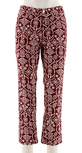 Liz Claiborne NY Jackie Straight Printed Ankle Jeans Henna Red 8 New A266183