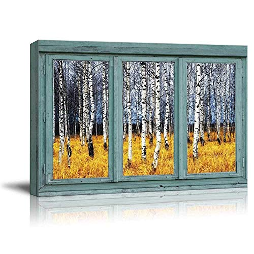 wall26 - Vintage Teal Window Looking Out Into a an Aspen Tree Forest During Fall Time - Canvas Art Home Decor - 24x36 inches