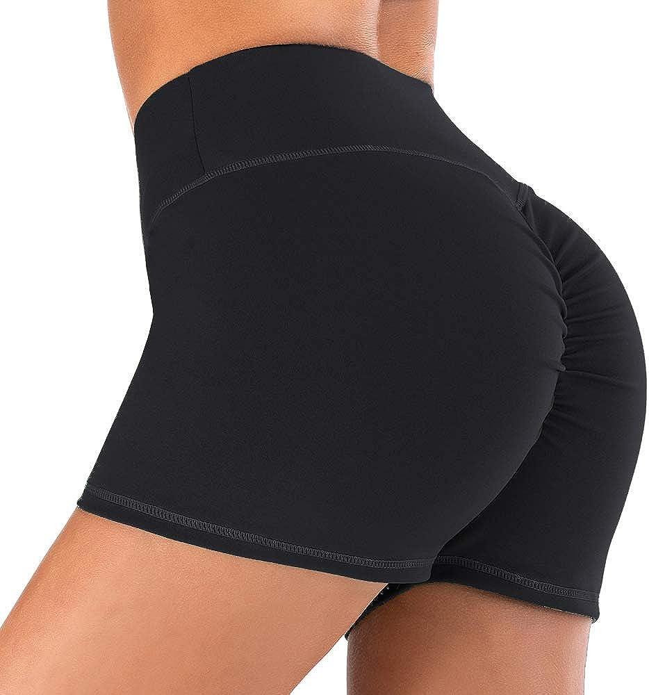 Baihetu Womens High Waist Yoga Shorts Tummy Control Workout Running Shorts with Side Pockets