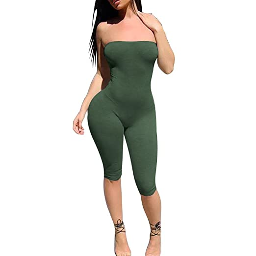 af80e6ea53d Hengshikeji Womens Sexy Off Shoulder Romper Jumpsuit Half Pants Solid  Sleeveles Playsuit Jumpers Teen Girls for