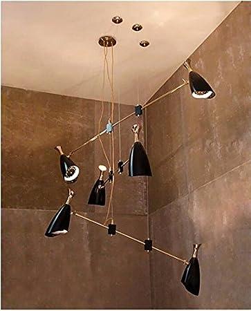 GOWE moderno minimalista Moda lámpara de comidas candelabros, lámparas comedor, Bar, escalera, lights-6 Jefes cuerpo color: negro: Amazon.es: Bricolaje y herramientas