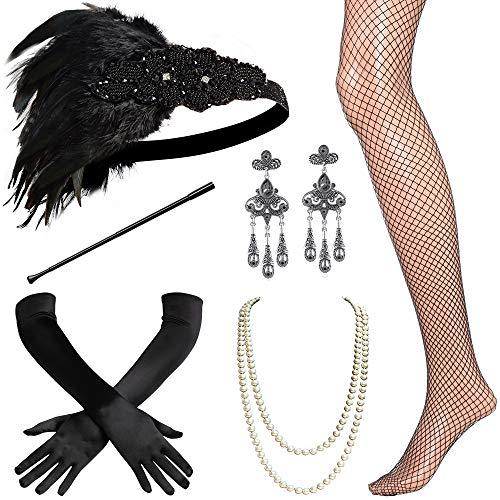 BABEYOND 1920s Flapper Accessories Set Gatsby Costume Accessories 20s Flapper Headband Pearl Necklace Gloves Cigarette Holder (Set-3) -