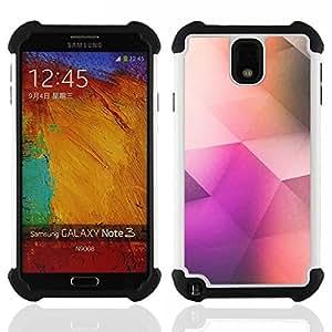 """SAMSUNG Galaxy Note 3 III / N9000 / N9005 - 3 en 1 impreso colorido de Altas Prestaciones PC Funda chaqueta Negro cubierta gel silicona suave (Patrón Poli Arte Polígono Color Purple"""")"""