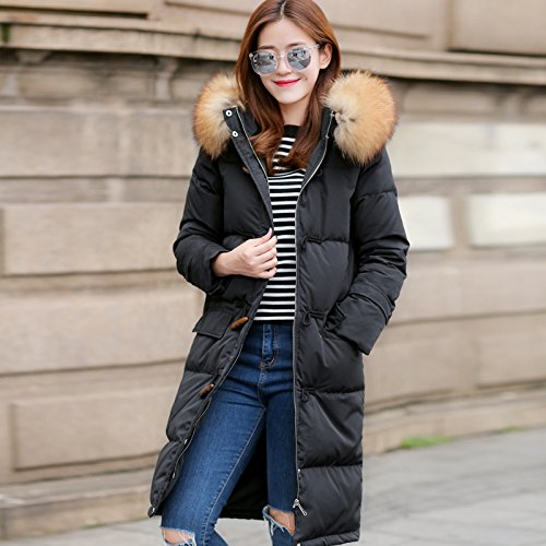 Black Down Thick Xuanku Extended The Women Warm Knee Section Jacket Long Of In The Hooded 6xxqdfRTw