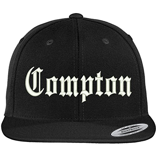 Trendy Apparel Shop Compton City Old English Embroidered Flat Bill Snapback Cap - Black