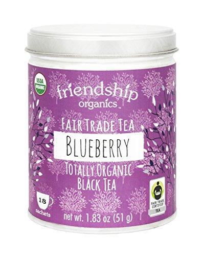 Friendship Organics Blueberry Tea, Totally Organic and Fair Trade Black Tea in Tagless Tea Bags (18 - Wild Black Blueberry Tea