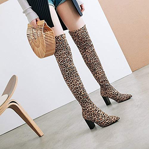 Stiefel Sexy Stiefel Party Klassische Sonnena High Casual Boots Heels Lederstiefel Stiefel Damen Langschaftstiefel Overknee Schuhe Braun Frauen Leopard Elegant Schnalle Damenschuhe ffwO5rq